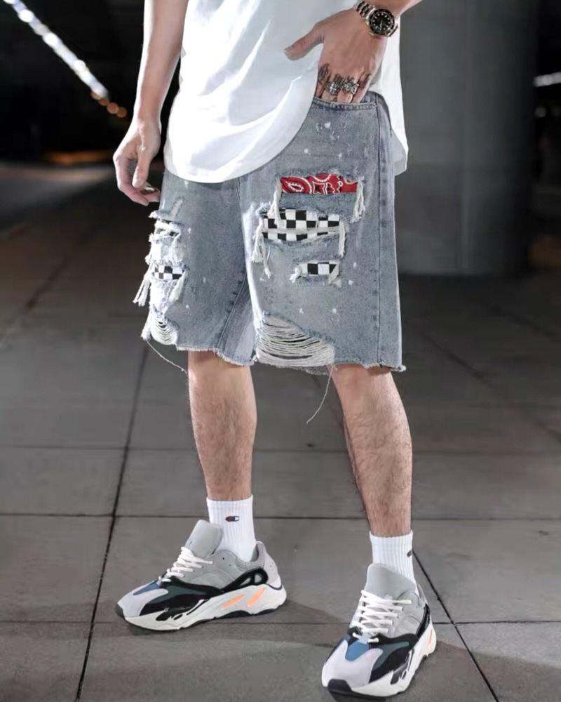 デストロイバンダナチェックデニムショートパンツ ハーフパンツ メンズの商品画像1